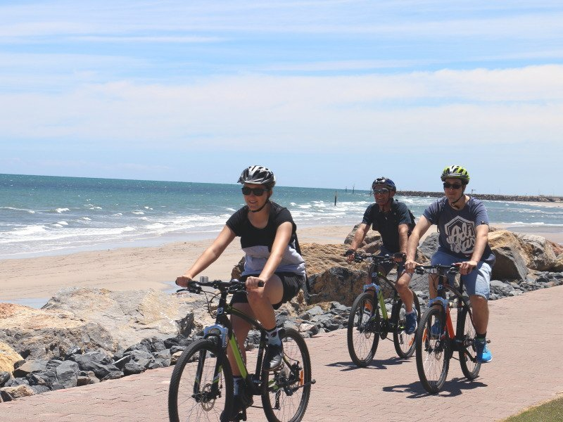Cycling at Glenelg foreshore - Photo: Pure SA