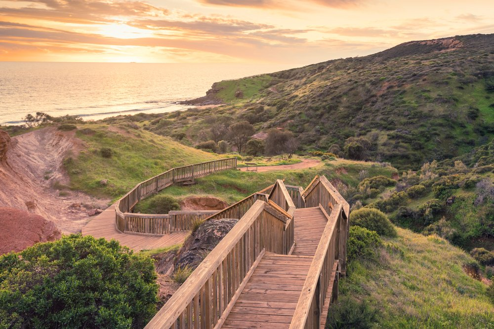 Hallett,Cove,Park,Boardwalk,At,Sunset,,South,Australia